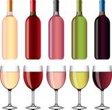 Insieme foto-realistico dei bicchieri di vino e del vino Immagine Stock