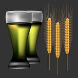 Insieme dettagliato orecchie del grano Fotografia Stock