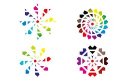Insieme di Abstract Sphere Logo Rounded Globle Circular Logo Template Modern Company Logo Symbol Vector Immagine Stock Libera da Diritti
