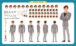 Insieme di affari di carattere della gente Parte anteriore, lato, carattere animato di vista posteriore Insieme della creazione d illustrazione vettoriale