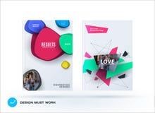 Insieme di affari dell'opuscolo di progettazione, rapporto annuale astratto, disposizione orizzontale della copertura, aletta di  illustrazione vettoriale
