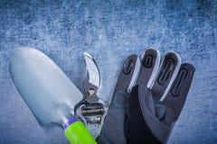 Insieme di agricoltura c dei guanti protettivi del pruner del giardino della cazzuola della mano Fotografie Stock Libere da Diritti