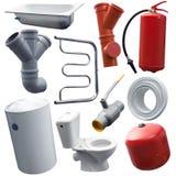 Insieme di alcuni oggetti sanitari di ingegneria Fotografie Stock Libere da Diritti