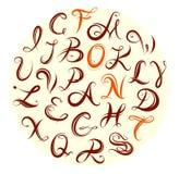 Insieme di alfabeto di calligrafia Immagine Stock Libera da Diritti