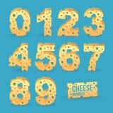 Insieme di alfabeto di numero del formaggio. Fotografia Stock