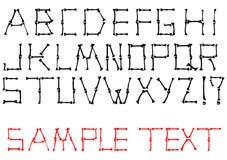 Insieme di alfabeto fatto dalle ossa Fotografie Stock Libere da Diritti