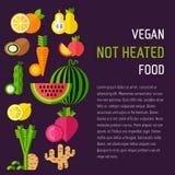 Insieme di alimento biologico con giusto testo Immagine Stock Libera da Diritti