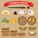 Insieme di alimento cinese e di cucina Immagini Stock Libere da Diritti