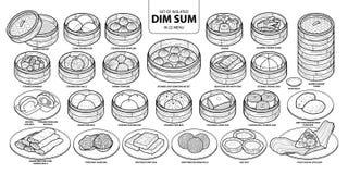 Insieme di alimento cinese isolato, Dim Sum nel menu 22 Illustrazione disegnata a mano sveglia di vettore dell'alimento in aereo  Fotografia Stock Libera da Diritti