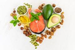 Insieme di alimento con i grassi di healthyl e omega-3 Fotografie Stock Libere da Diritti