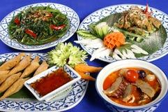 Insieme di alimento tailandese sano Fotografie Stock