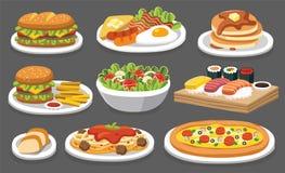 Insieme di alimento tradizionale Lasci il ` s mangiare qualche cosa di delizioso royalty illustrazione gratis