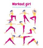 Insieme di allenamento del corpo Donna che fa gli esercizi di yoga e di forma fisica Pacchetto o Fotografia Stock