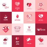 Insieme di amore ed icone romantiche per il giorno di biglietti di S. Valentino Immagini Stock Libere da Diritti