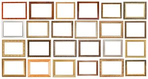 Insieme di ampie cornici di legno d'annata isolate Immagine Stock