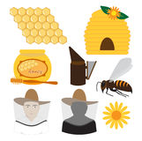 Insieme di apicoltura Fotografie Stock Libere da Diritti