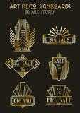 Insieme di Art Deco Style Sale Stickers illustrazione di stock