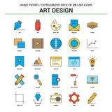 Insieme di Art Design Flat Line Icon - progettazione delle icone di concetto di affari royalty illustrazione gratis