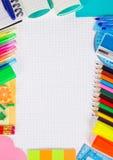 Insieme di articoli per ufficio necessari per la scuola Fotografia Stock