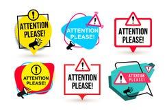 Insieme di attenzione per favore Distintivo con le icone del megafono Progettazione piana Illustrazione di vettore Isolato su pri Fotografia Stock Libera da Diritti