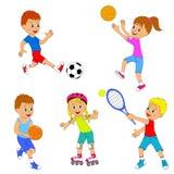 Insieme di attività degli sport dei bambini Fotografia Stock Libera da Diritti