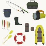 Insieme di attrezzatura per pescare Fotografia Stock Libera da Diritti