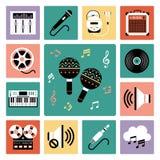 Insieme di audio icone Fotografia Stock