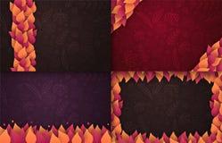 Insieme di Autumn Backgrounds con le foglie per la vendita di compera, il manifesto di promo e l'opuscolo della struttura, insegn illustrazione di stock