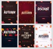 Insieme di Autumn Backgrounds con le foglie per la vendita di compera, il manifesto di promo e l'opuscolo della struttura, insegn royalty illustrazione gratis
