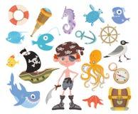 Insieme di avventura del mare Pirata cieco da un occhio con una spada, il forziere, lo squalo, il polipo ed altri elementi del pi illustrazione vettoriale