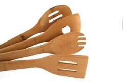 Insieme di bambù del cucchiaio e della spatola Fotografie Stock Libere da Diritti