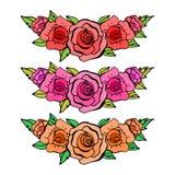 Insieme di bei elementi floreali Rose rosse, rosa ed arancio Ca Immagine Stock