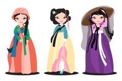 Insieme di bei hanboks sulle donne coreane Fotografia Stock