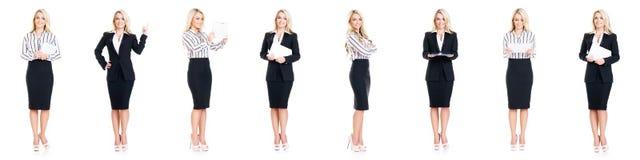Insieme di bella, donna di affari attraente isolata su bianco Fotografie Stock Libere da Diritti