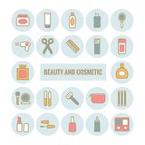 Insieme di bellezza del profilo di vettore e dell'icona del cosmetico Immagini Stock Libere da Diritti