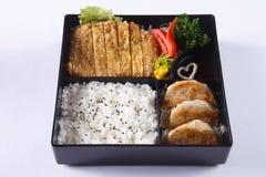Insieme di bento della carne di maiale Deep fried (Tonkatsu), Gyoza, riso giapponese, i fotografia stock