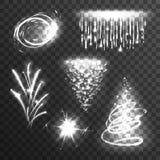 Insieme di bianco di effetti della luce Immagini Stock