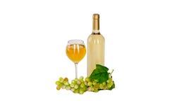 Insieme di bianco e delle bottiglie di vino rosato, glas ed uva rossa e bianca del formaggio. Fotografia Stock Libera da Diritti