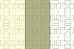 Insieme di bianco e di verde verde oliva dei modelli senza cuciture geometrici Fotografia Stock