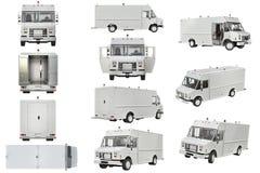 Insieme di bianco di Van car Fotografia Stock