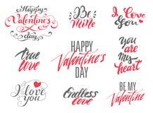 Insieme di biglietti di S. Valentino dell'iscrizione felice di giorno e di amore Fotografia Stock