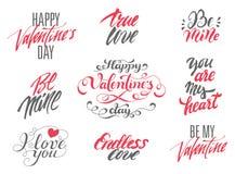 Insieme di biglietti di S. Valentino dell'iscrizione felice di giorno e di amore Immagini Stock