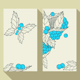 Insieme di biglietto da visita con le foglie e le bacche disegnate a mano del profilo Immagine Stock Libera da Diritti