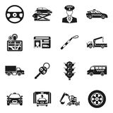 Insieme di Black White Icons del driver Illustrazione di Stock