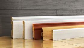 Insieme di bordatura della forma differente su un fondo di legno illustra 3D Fotografia Stock