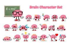 Insieme di Brain Cartoon Character Fotografie Stock