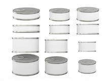 Insieme di brevi barattoli di latta cilindrici bianchi in varie dimensioni, clipp Fotografie Stock