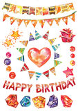 Insieme di buon compleanno di vettore dell'acquerello, elementi decorativi per il biglietto di auguri per il compleanno, decorazi Fotografia Stock