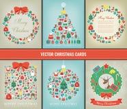 Insieme di Buon Natale Collezioni della cartolina d'auguri con gli elementi di Natale Vettore royalty illustrazione gratis
