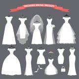 Insieme di caduta nuziale dei vestiti da sposa sui nastri illustrazione di stock